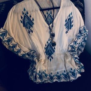 Super cute, light flow, beach embroidered blouse